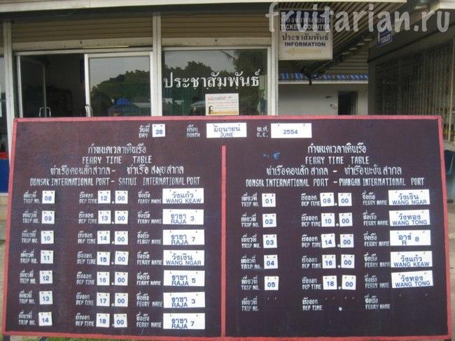 расписание паромов до Пангана