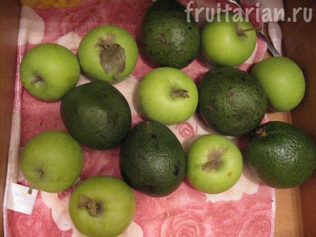 авокадо и яблоки
